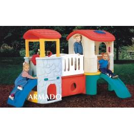 Plac zabaw, ścianka wspinaczkowa, zjeżdżalnia